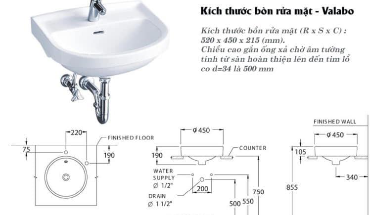 Kích thước lavabo chuẩn để tham khảo