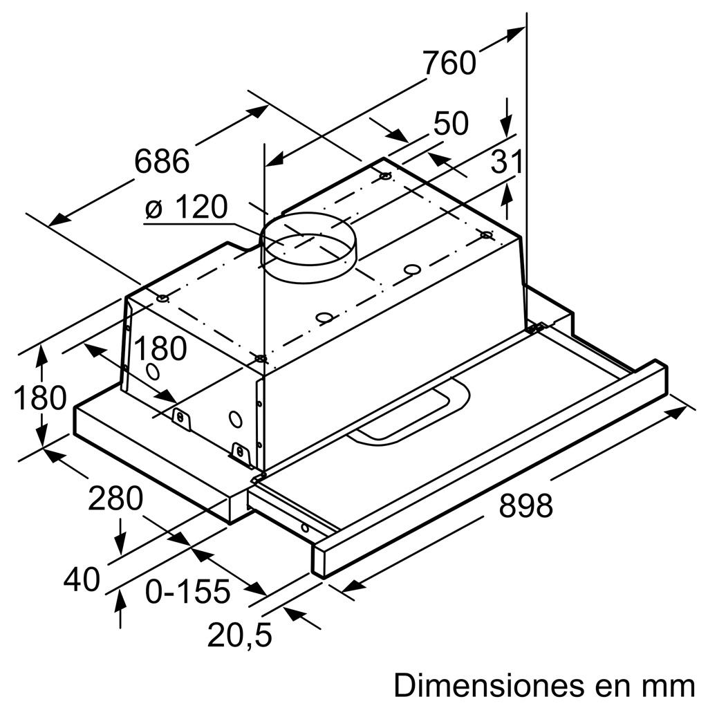 Kích thước MÁY HÚT MÙI BOSCH DFT93AC50